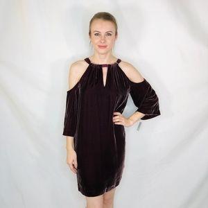 Trina Turk Brandy Velvet Open Shoulder Mini Dress